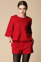 Free shipping 2014 autumn new women shorts suit,clothing set,women fashion half-sleeves coat and shorts,keep warm,2colors