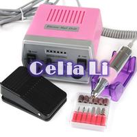 Pink 30000 RPM Pro Electric Art Nail Drill File Improved Overheat Vibration Manicure Set EU /US Plug kit 525 Free Shipping