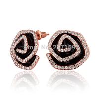 Wholesale Fashion 18K Rose Gold Plated Women's Stud Earrings Black Flower Austrian Crystal E802