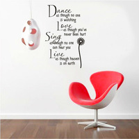 dance as though no one is watching love quote wall decal zooyoo8034S decorative adesivo de parede removable vinyl wall sticker