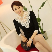 Free Shipping Black/White/Orange 2014 Autumn Fashion Elegant Beading Lace Long Sleeve Cotton Blouse Shirts Fitness Women
