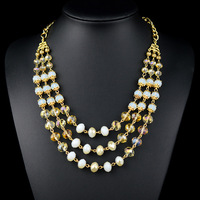 Colares Femininos Top Fashion Real Trendy Resin Necklace Women Nz0184 Euramerican Style 3 Layers Beaded Plated Long Chain For