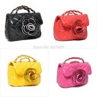 2014 hot fashion children's bag with big flower women messenger bags metal chain purse Cross Body Bag