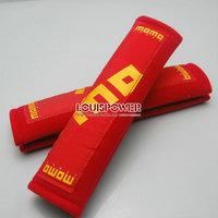 Free shipping  2pcs 2inch  MOMO Car SeatBelt Seat belt Shoulder Pads 10 Harness Seat Belt Pads Shoulder Pad RED