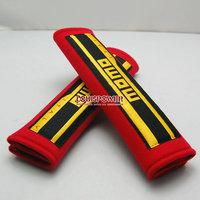 Free shipping  2pcs 2inch  MOMO Car SeatBelt Seat belt Shoulder Pads 02 Harness Seat Belt Pads Shoulder Pad RED-BLACK
