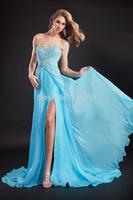 2014 Sexy A Line Sweetheart Beaded Chiffon Split Prom Dresses Blue Evening Party Dress Gown Hot Sale vestido de festa