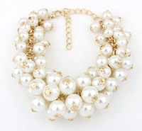 OL lady wearing metal chain bracelet flash Imitate pearl beads wild multilayer Bracelet  XY-B493