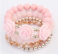 Acrylic Rose Flower Round Faux Pearl Shining Rhinestone Crystal Elastic Charm Bracelet for Women Female XY-B494