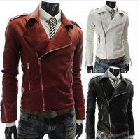 Free shipping new hit 2014 personality more zip Men's large lapel Brief paragraph leather