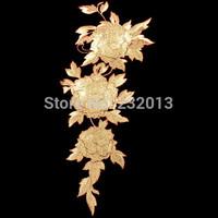 Free Shipping 1pcs Luxury Gold Flower Patch, 3D Flower Motif Applique Gold Floral Patch for Costume Dress Decoration 40*18cm