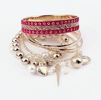 2014 Fashion Multilayer Pearl Bow Bracelet For Women Bead Banlge Fashion Jewelry wholesale XY-B499