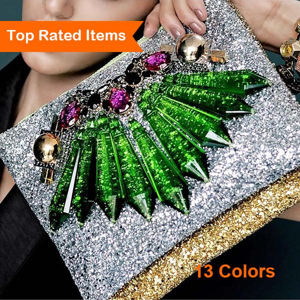 13 farben shinning frauen handtaschen mit reißverschluss frauen clutch 2014 Luxus big kristall blumen geldbörsen 100% Qualitätsgarantie