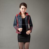 2014 Autumn Plus Size Short Coat Ladies Demin and Leather Jacket jaquetas de couro for Mom