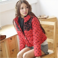 women clothing 2014 korean winter polka dot candycolor stand collar lace flower Slim Down cotton padded jacket,Coat women#C47711