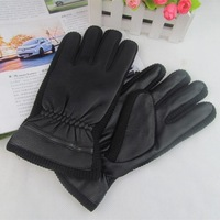 Men's black leather gloves thick velvet gloves Korean winter cycling gloves wholesale weatherization