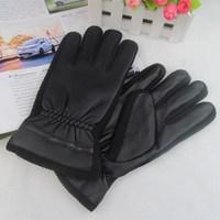 Men's black leather gloves thick velvet gloves Korean winter cycling gloves wholesale weatherization