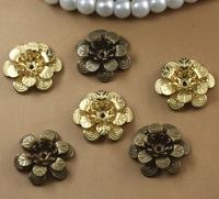 18*5MM Three layers 3D metal filigree flower charm, brass filigree jewelry findings, bronze filigree embellishments bead caps
