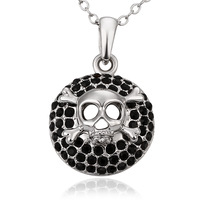 Women Jewelry Skull Charms Personality Necklace Platinum Plated Black Crystal Necklaces & Pendants Trinket Wholesale N678