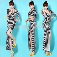 New European 2014 Sexy Hollow Strip Long Dress Hip Sheath Dress Party Slim Dress For Woman Deep V-Neck Hot Club Woman Dress t663