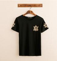2014 vintage black t-shirt personalized stars eye summer shipping les Japanese Harajuku Men's short-sleeve shirt