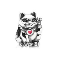 "PS818 European 925 Sterling Silver bead ""Lucky Cat"", exclusive charm for bracelets and necklaces"