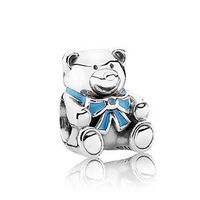 "PS820 European 925 Sterling Silver bead ""BABY BOY TEDDY BEAR"", exclusive charm for bracelets and necklaces"