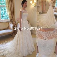 Vintage Lace A-Line Wedding Dresses Bateau Short Sleeve Bridal Dresses Chapel Wedding High Quality Court Train Custom Made