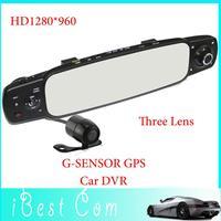 New 2000B Three Lens Rearview Mirror Car Dvr Black Box Driving Recorder 3.0'TFT LCD HD1280*960 Night Vision Free shipping 1 gift