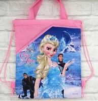 Freeshippingchildren's backpack frozen princess drawing Printed School Bags For Girl Non-woven Bag
