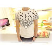 Men's short-sleeved t-shirt Slim Korean version of Japanese maple lest the youth national cashew flower short-sleeve shirt