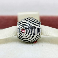 PS506 European 925 Sterling Silver bead with red zirconia, exclusive charm for bracelets and necklaces