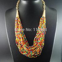 Handmade New Unique Big Bib Neon Chunky Choker Ethnic Charm Beaded Statement Chain Jewelry For Women