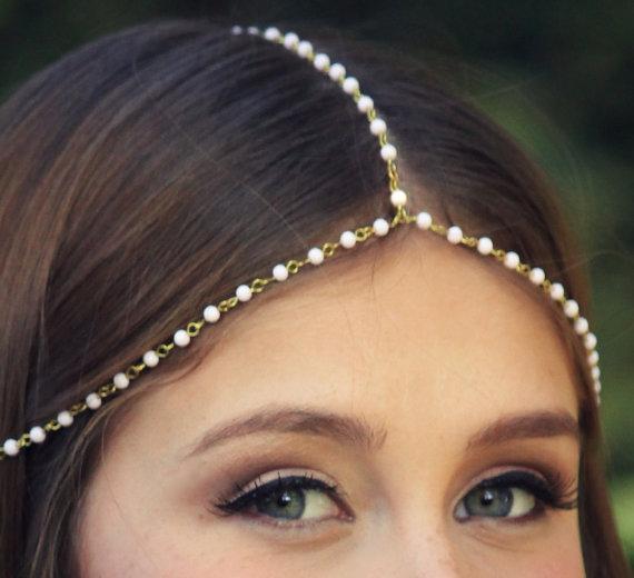 Bohemian pearl beaded Head jewely Headpiece Grecian headchain, bobo Style Gypsy hair jewelry, Wedding Haadchain(China (Mainland))