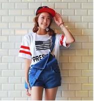 New 2014 Summer Fashion American flag Printed  Short Sleeve O-neck Loose Casual Tee Tops girl t shirt women Free Shipping  737