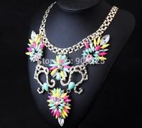 Wholesale Luxury Chunky Chain Flower Decoration Women Fashion Statement Necklace. European Fashion Jewelry 2014