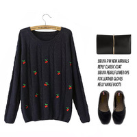 pullovers real free shipping 2014 new autumn korean fashion sweet fresh cherry embroidery hedging long-sleeved knit sweater z030