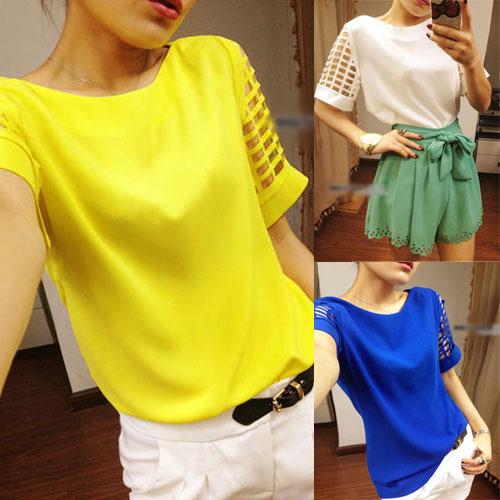 moda verão novo luva oca doces barco pescoço blusa chiffon camisa t- shirt(China (Mainland))