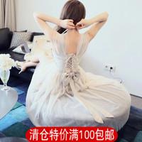2014 summer full dress sexy low-cut formal dress full dress gauze fairy dress