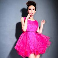 2014 neon puff skirt princess sweet tank dress chiffon layered dress bridesmaid dress costume