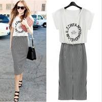 Women's European style new striped dress with bat Sleeve A  shape hip dress