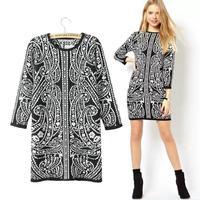 2014 Cotton Flannel Full Vestido Dresses Fashion Winter Clothes With The Money Counters Slim Baroque Retro Print Knit Dress Free