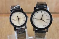Promotions Fashion Metal strap Big Dial Free Shipping Couples Luxury Quartz Wrist Watch Men & Women Watch