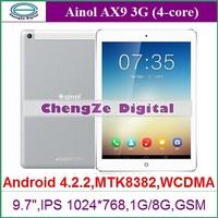 "Original Ainol AX9 3G Tablet PC 9.7"" Android 4.2 single Sim MTK8382 Quad Core 1.3GHz 1GB RAM 8GB WCDMA OTG GPS 5.0MP bluetooth"