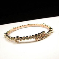 european brand full rhinestone inlay bracelets bangles for women gold plated jewelry wholesale gifts