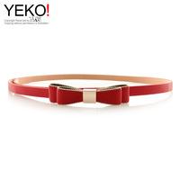 Candy colored bow thin belt beaded lace belt Pu Korean leopard fine belt 178