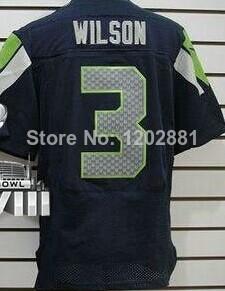 2014 super bowl parche hombre nueva élite jerseys de fútbol americano #3 russell wilson azul marino blanco lobo gris camiseta verde