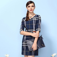 2014 summer new European style retro plaid sleeve dress Slim British temperament was thin plaid girl dress Free shipping