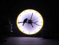 2014 New product factory outlet LED luminova wall clocks home decor crafts acrylic wall clock bird and tree idyllic  clock