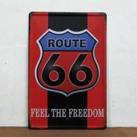 Christmas present Route 66 Feel the freedom  Retro Metal Wall Sign Tin Plaque Pub Wall Bedroom Vintage Decor Garage E-32