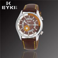 Hot Sale New Fashion EYKI Jewelry Luxury Brand Watches men Business Casual Sports Analog Leather Quartz Watch W8453G